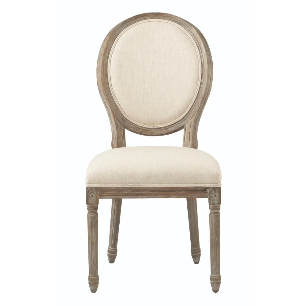 Fine Jacques Antique Brown Natural Linen Round Back Dining Chair Caraccident5 Cool Chair Designs And Ideas Caraccident5Info