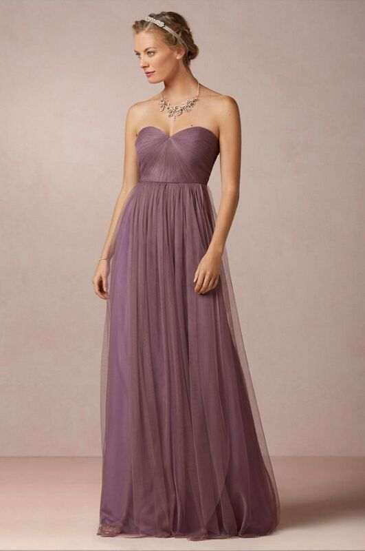 Hot Sale Strapless Sweetheart Pleated Tulle Purple Bridsesmaid Dress