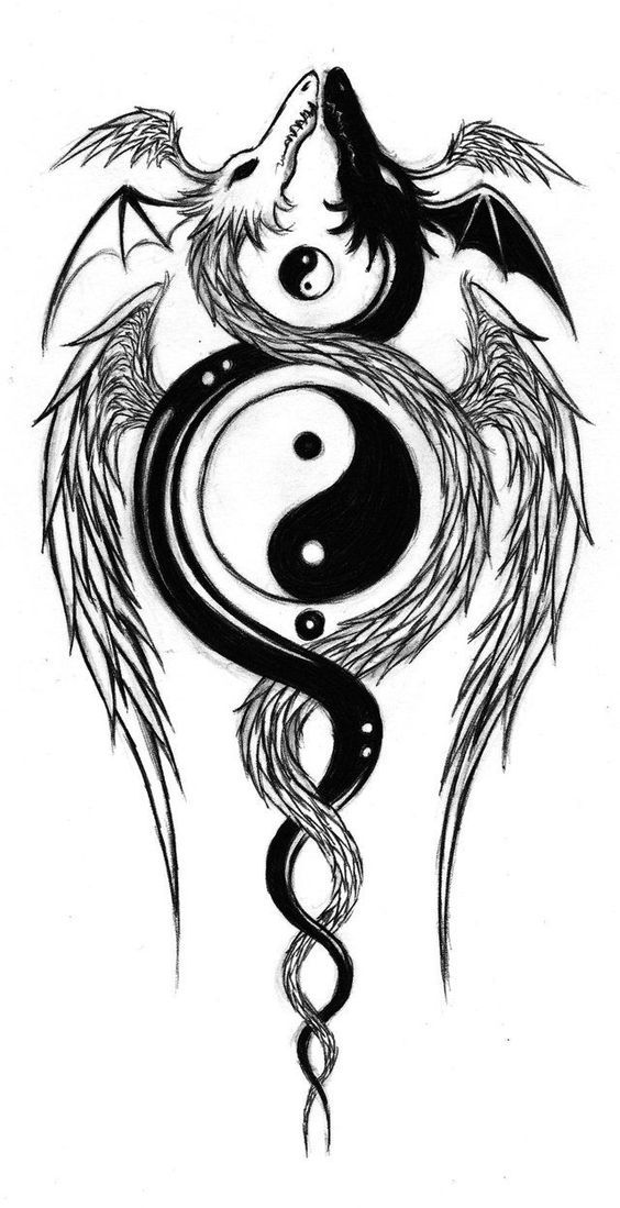 yin yang art | Yin Yang Drachen Tattoos #dragon #tattoos #tattoo – Heute Pin  Tattoo #flowertattoos - flower tattoos