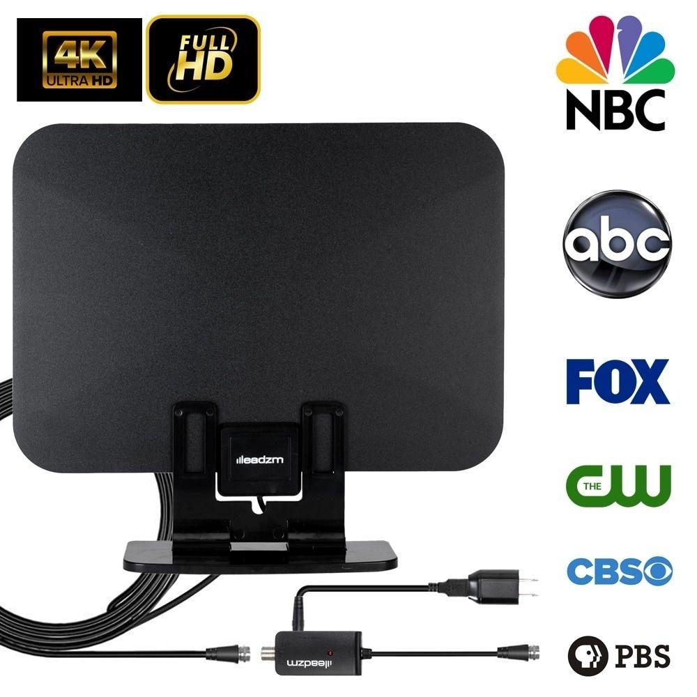 Leadzm 150Miles Outdoor Amplified TV Antenna Digital HD TV 1080P UHF//VHF Black