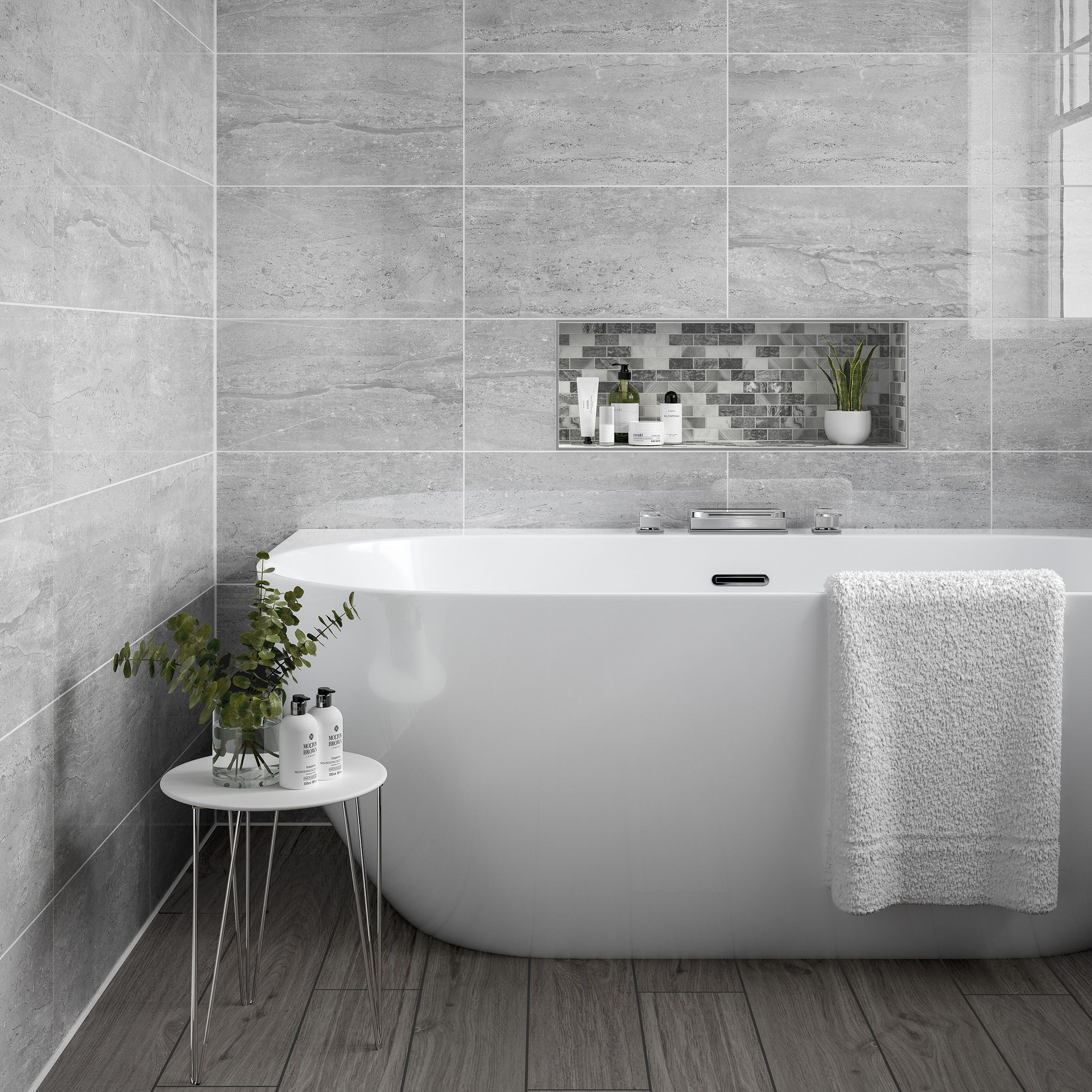 Pallington Light Grey Gloss 250x500mm Ceramic Wall Tile In 2020 Grey Bathroom Wall Tiles Grey Bathroom Tiles Light Grey Bathrooms