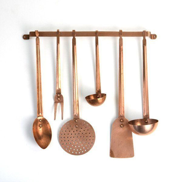 Vintage Copper Utensils On Wall Rack Hanging Kitchen Decor Includes Spoons Ladle Copper Kitchen Accessories Copper Kitchen Utensils Kitchen Utensil Decor