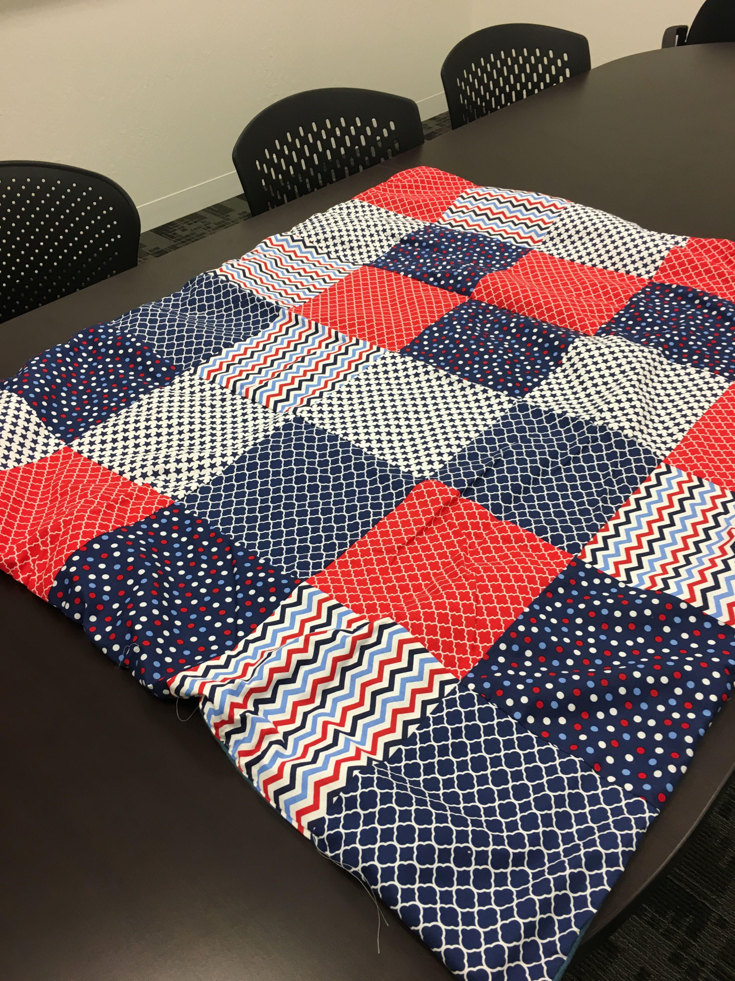 Red/white/blue beach quilt 30x40 all cotton Reddit gift