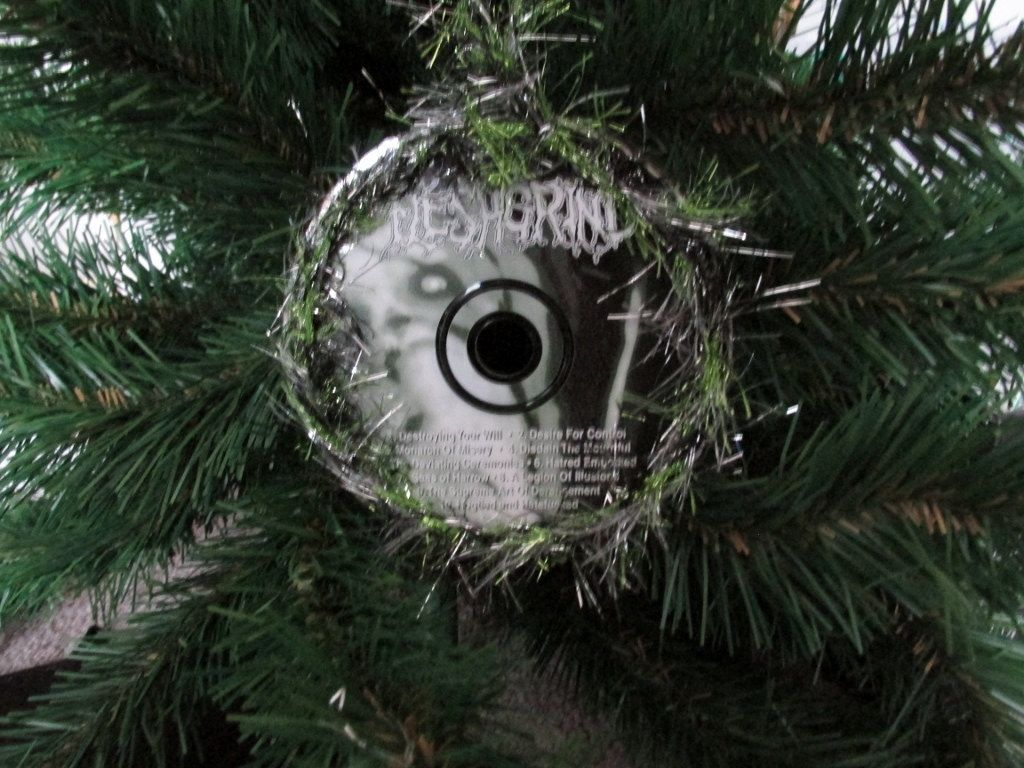 fleshgrind upcycled cd ornament death metal christmas by jinglehell on etsy - Death Metal Christmas
