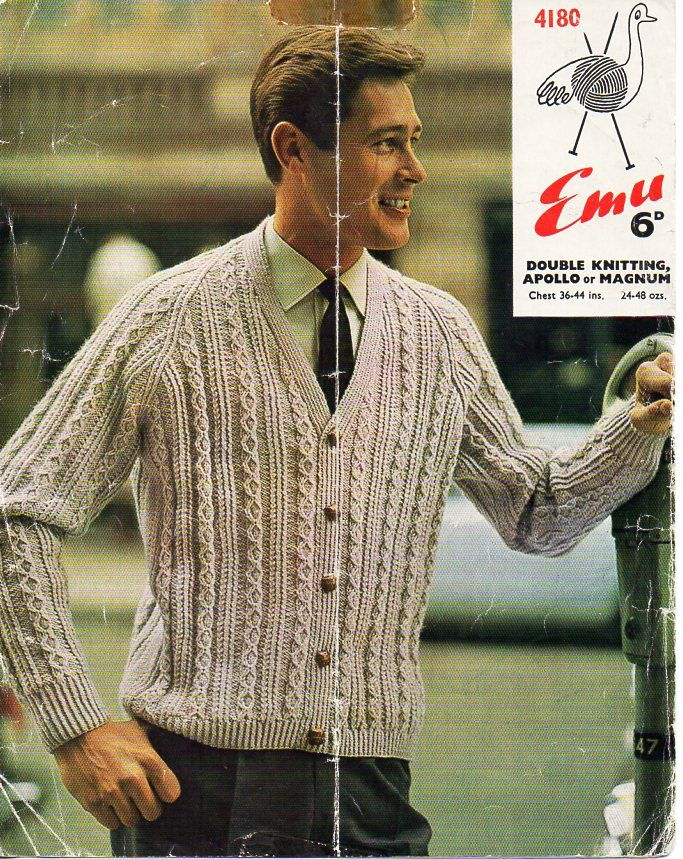 Mens Cardigan Knitting Pattern Pdf Vintage 50s Cable Jacket 36 44