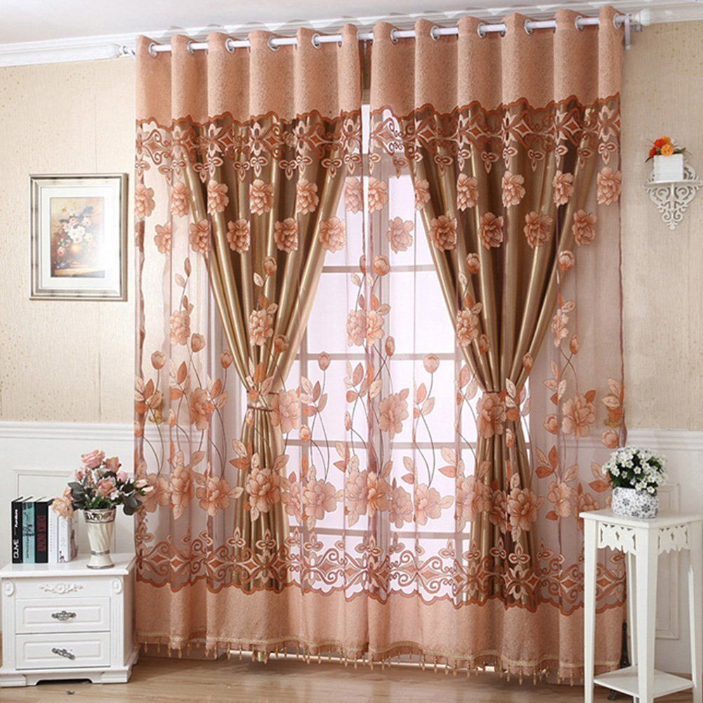 Amazon Com Molil Door Window Curtain Flower Tulle Drape Panel