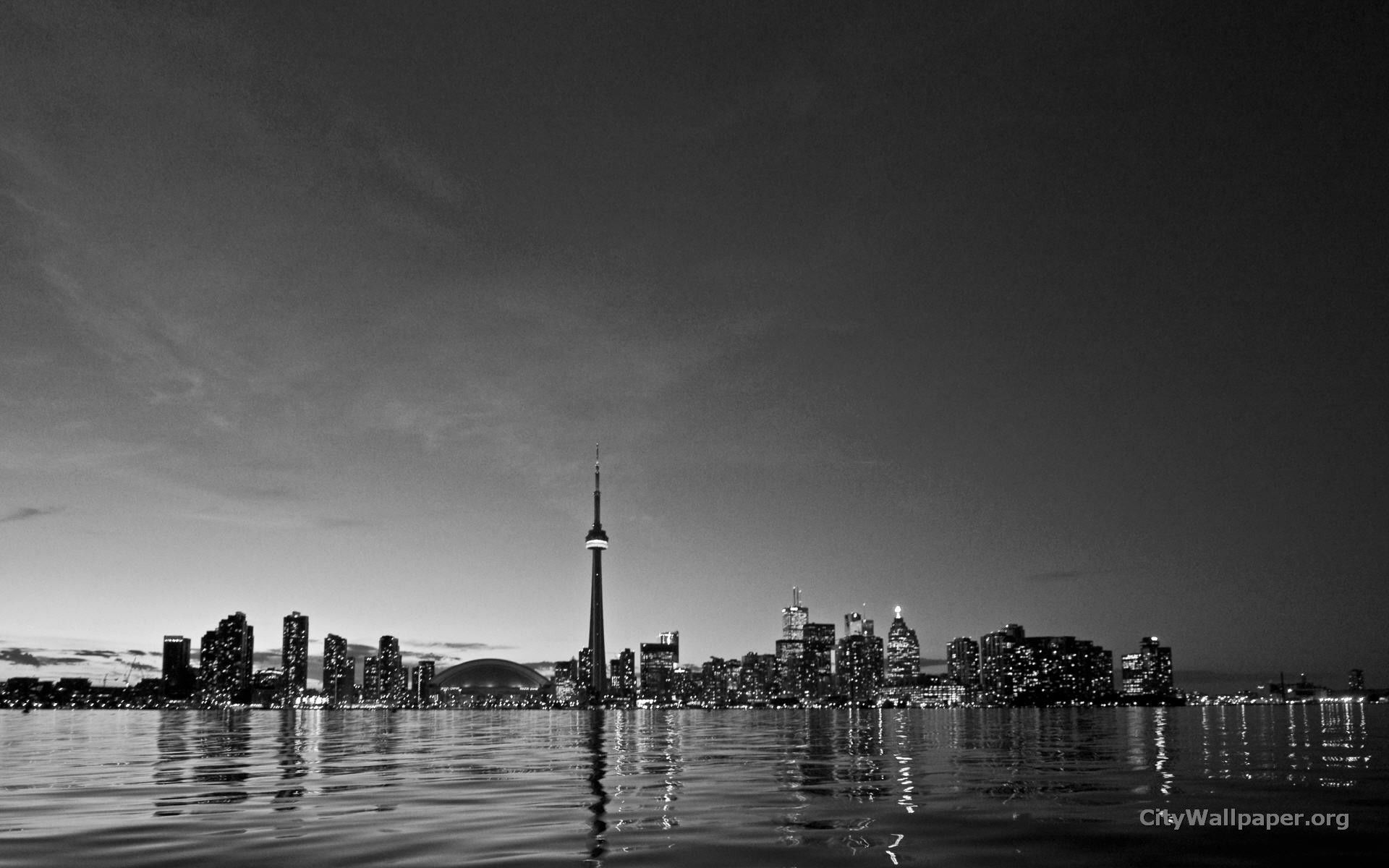 Toronto City Skyline Pictures Black And White Wallpaper