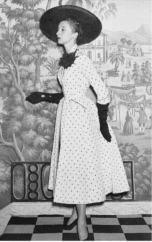 "Model Marie-Thérèse in Balmain ""Jockey Club"" Polka-Dot Coat, 1953"