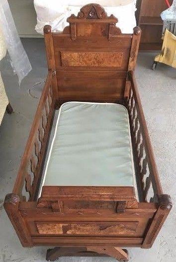 Antique Eastlake Victorian Baby Cradle Crib Solid Wood Exquisite