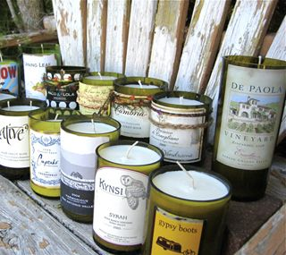 Make wine bottle soy candles wrap string around area you for How to cut glass with string and fire