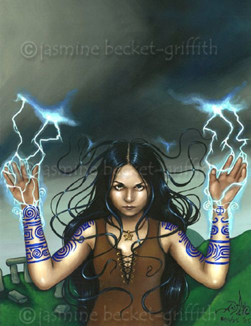 White Witch of the Storm gothic pagan art CANVAS PRINT