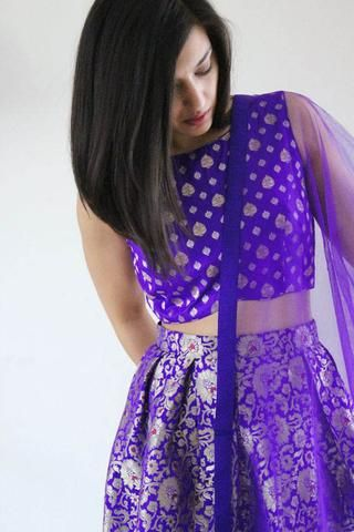 In Style Purple Brocade Lehengas Choli Design ,Indian Dresses | Indian  designer outfits, Indian outfits, Indian attire