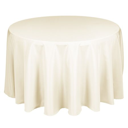 TCPY-108IV 108 Inch Round Polyester Ivory Tablecloth: www.smartyhadaparty.com