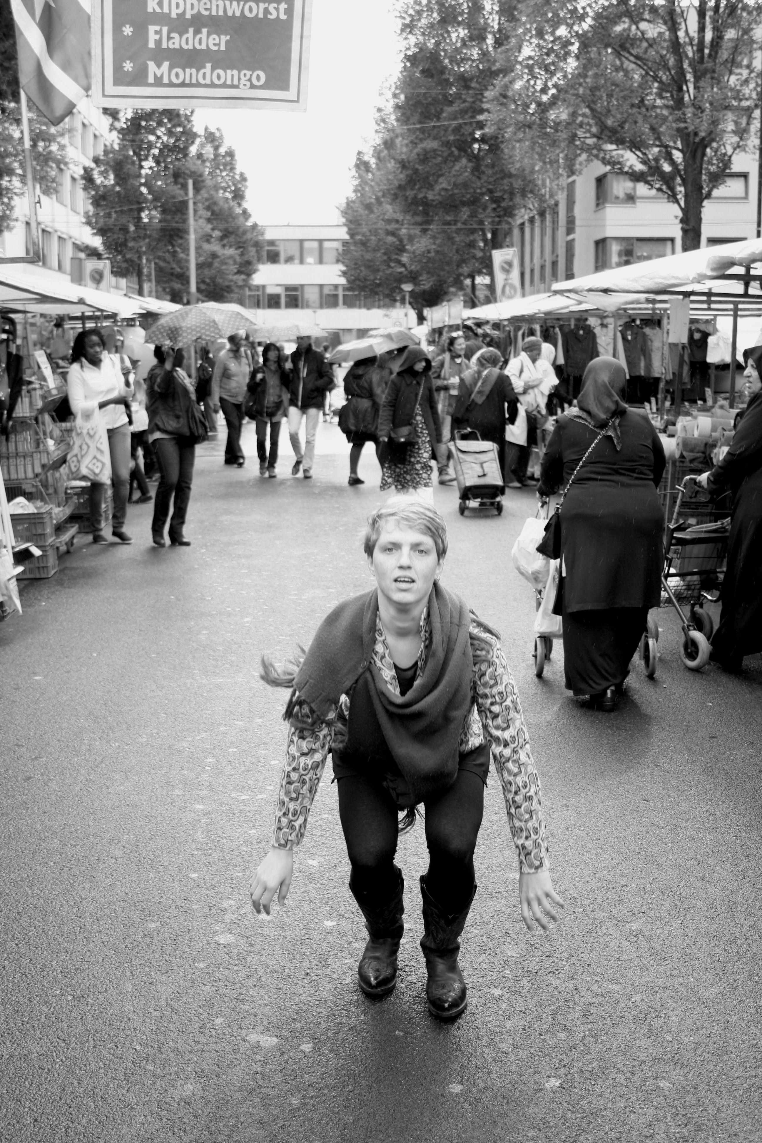 """My temporary jump""  Dappermarkt, Amsterdam"