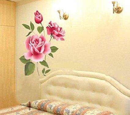 Amazon.com: 1 X Hotportgift Rose Flower Removable PVC Wall Sticker ...