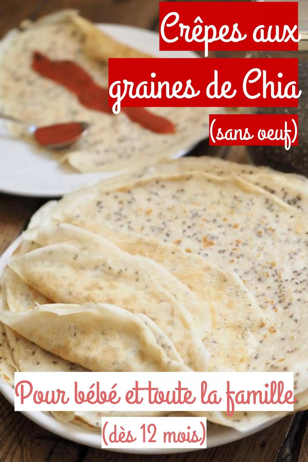 Crêpes aux graines de chia et coco (sans oeuf)
