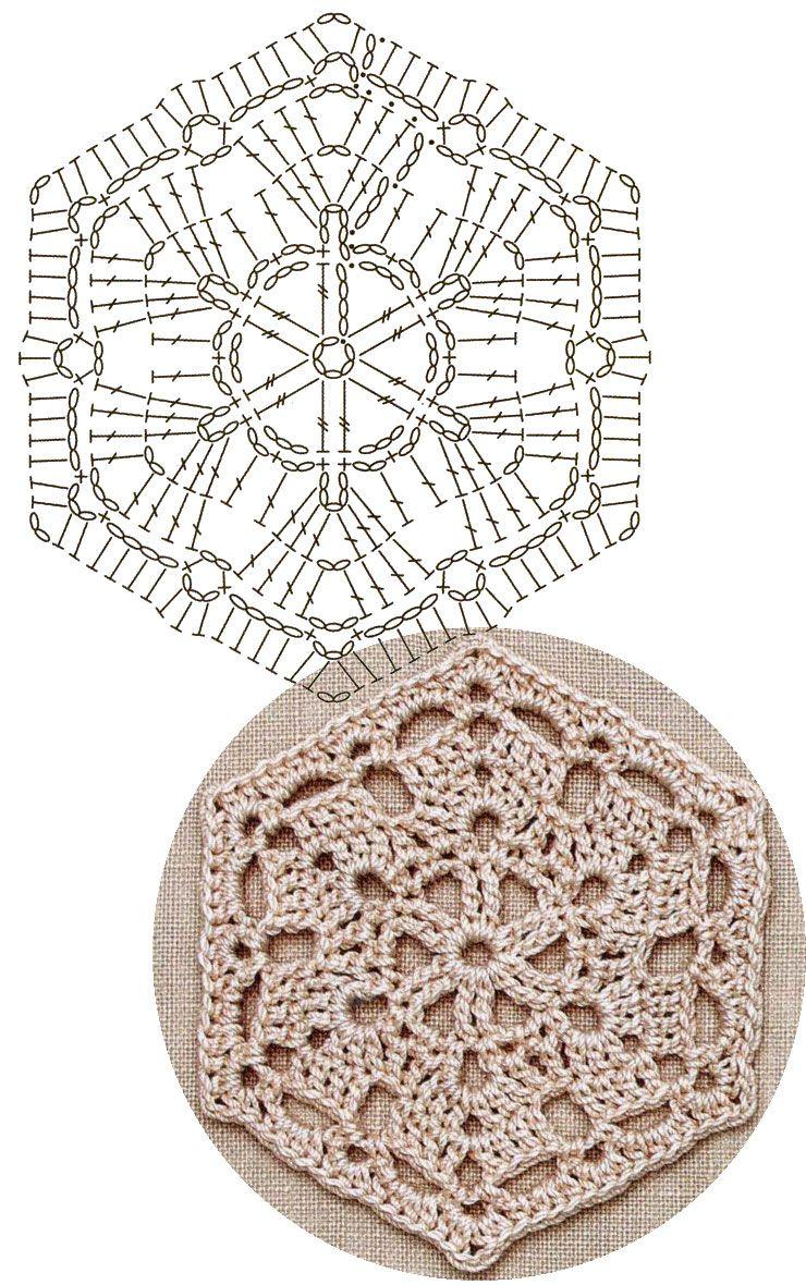 No.37 Curve-lined Hexagon Lace Crochet Motifs / 커브-라인 헥사곤 ...