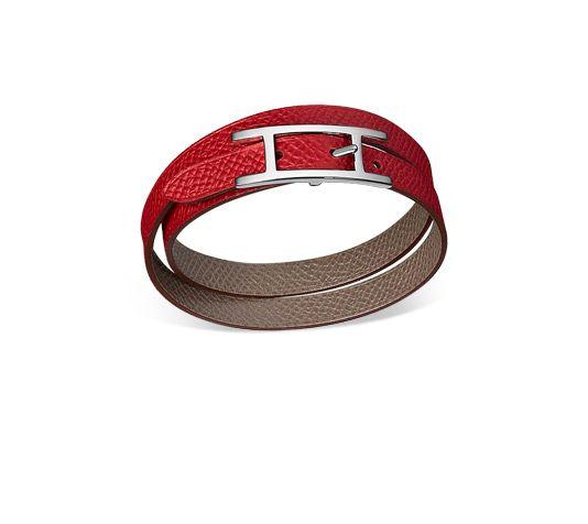 Hermès reversible Behapi Double Tour bracelet Grey/Rouge Casaque epsom  calfskin (L)
