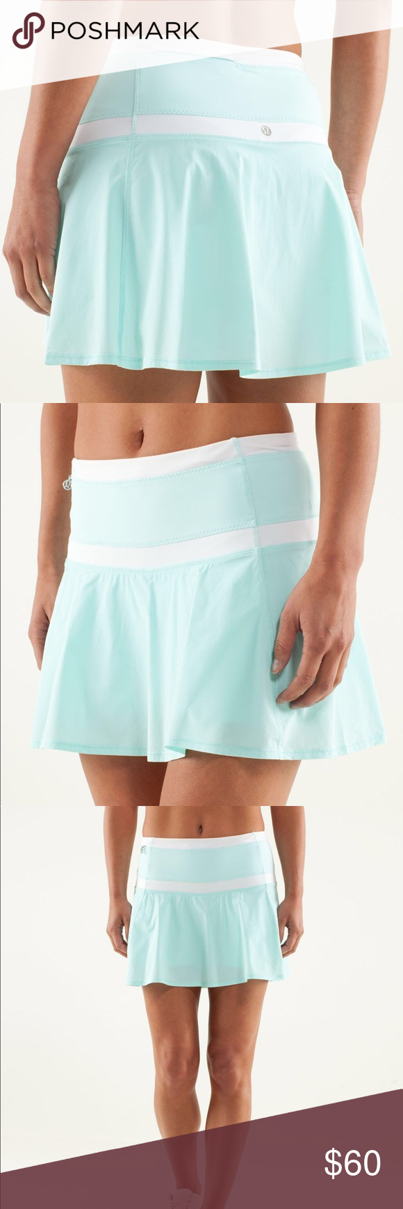 9880e3b2cf EUC Lululemon Hot Hitter Skirt in Aquamarine/White This skirt is in  excellent like new condition! There are now flaws. It has built in  compression shorts.
