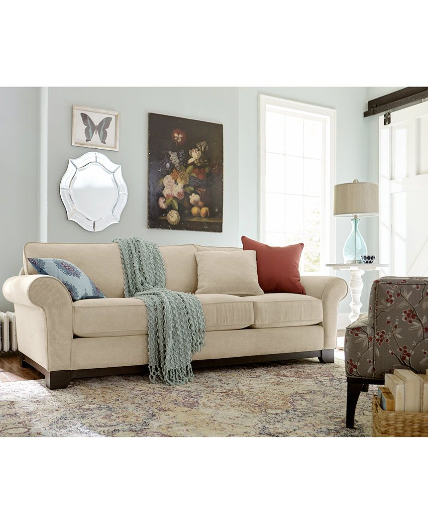 Macys Furnitur: Medland 89 Fabric Roll Arm Sofa With 2 Pillows, Created