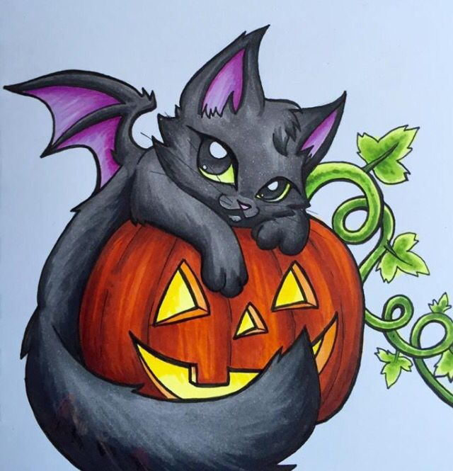 Halloween Kitty Dragon By Dragonsandbeasties Cute Halloween