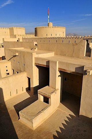 Historic Adobe Fortification Rustaq Fort Or Castle Hajar Al Gharbi Mountains