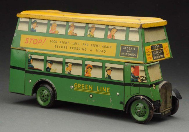 "English Chad Valley ""Green Line"" Bus Biscuit Tin"