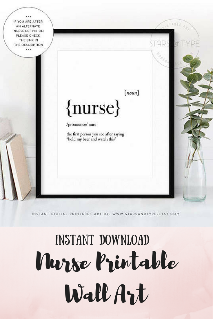 Nurse Definition Printable Wall Art Instant Etsy Download