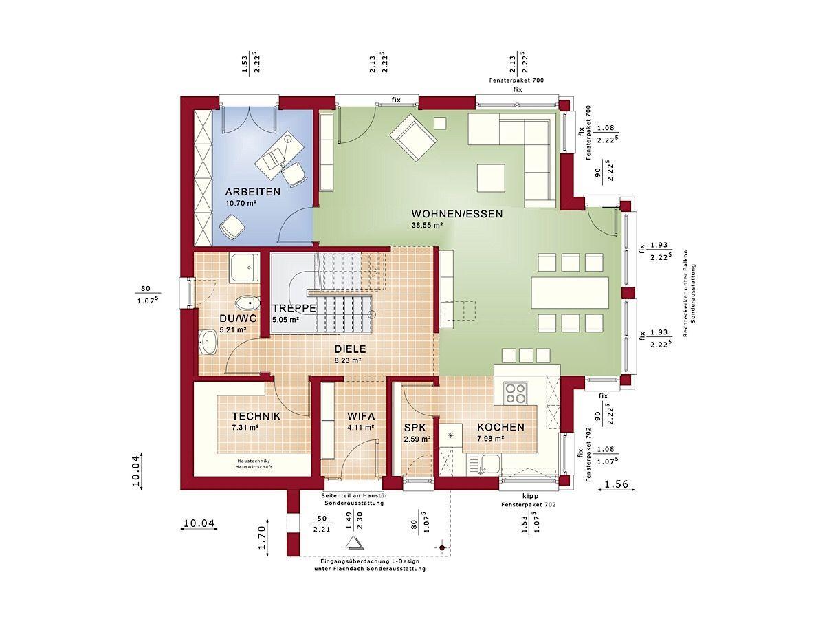 Fertighaus Grundriss Einfamilienhaus Erdgeschoss offen mit