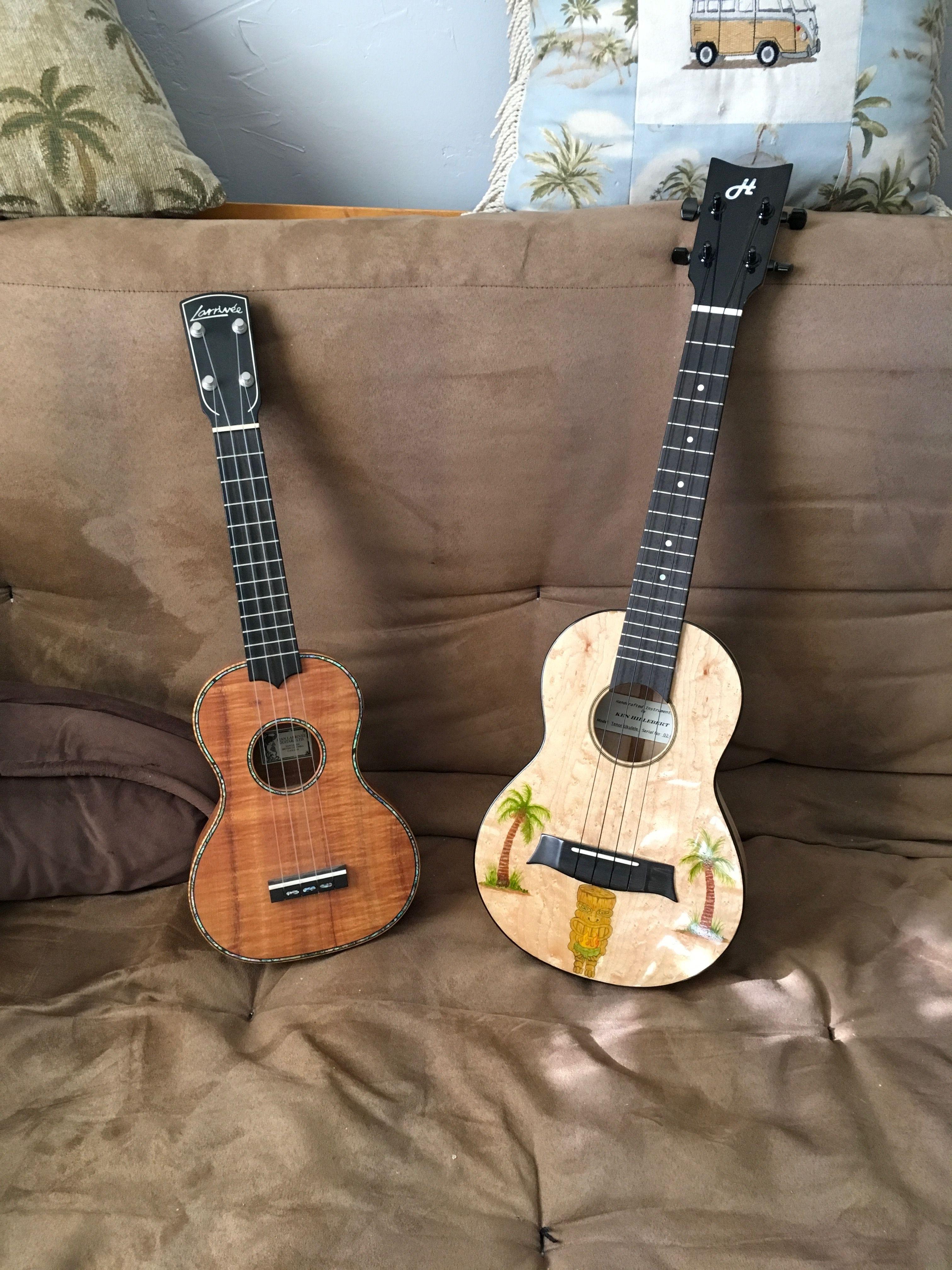 Koa Larrivee Ukulele Paired With Ken Hillebert Custom Tiki Uke Ukulele Guitar Acoustic Guitar