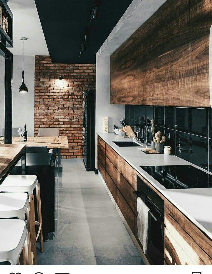Black Grey And Brown Kitchen Minimal Kitchen Design Minimaldesign Kitchendesign Kitchende Kitchen Design Modern Kitchen Design Interior Design Kitchen