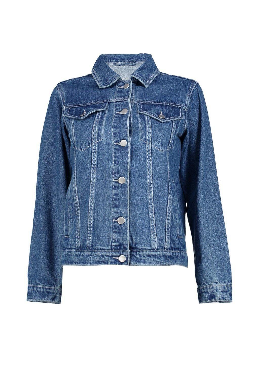 Boohoo Womens Petite Cassie Embellished Denim Festival Jacket in Dark Blue size