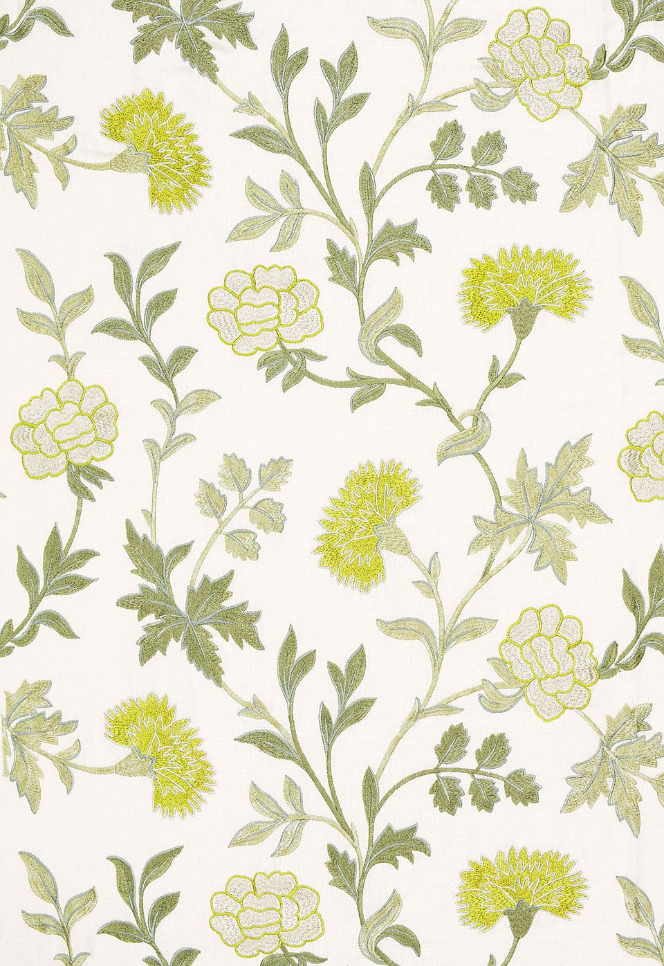 Fabric Sheridan Linen Embroidery In Chartreuse Schumacher 花