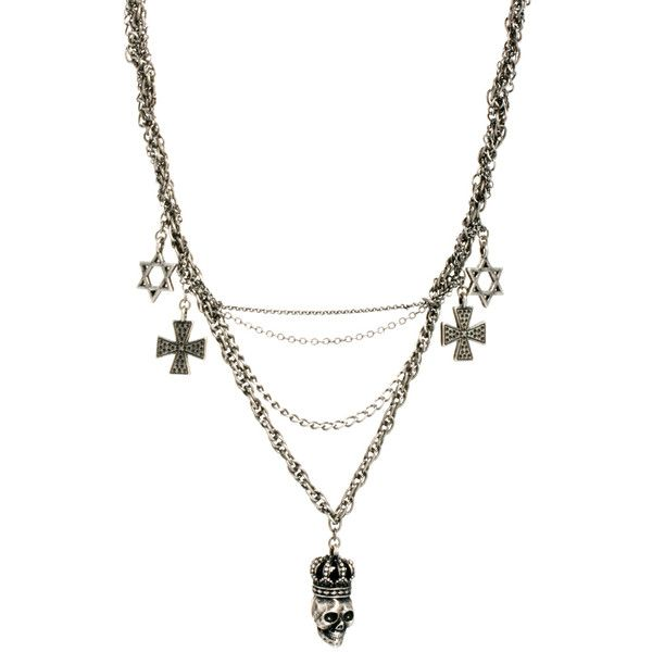 Religion Multi Chain Skull Charm Necklace (125 BRL) ❤ liked on Polyvore featuring jewelry, necklaces, accessories, colar, multi row necklace, skull necklace, religion clothing, multi strand necklace and multi-chain necklace
