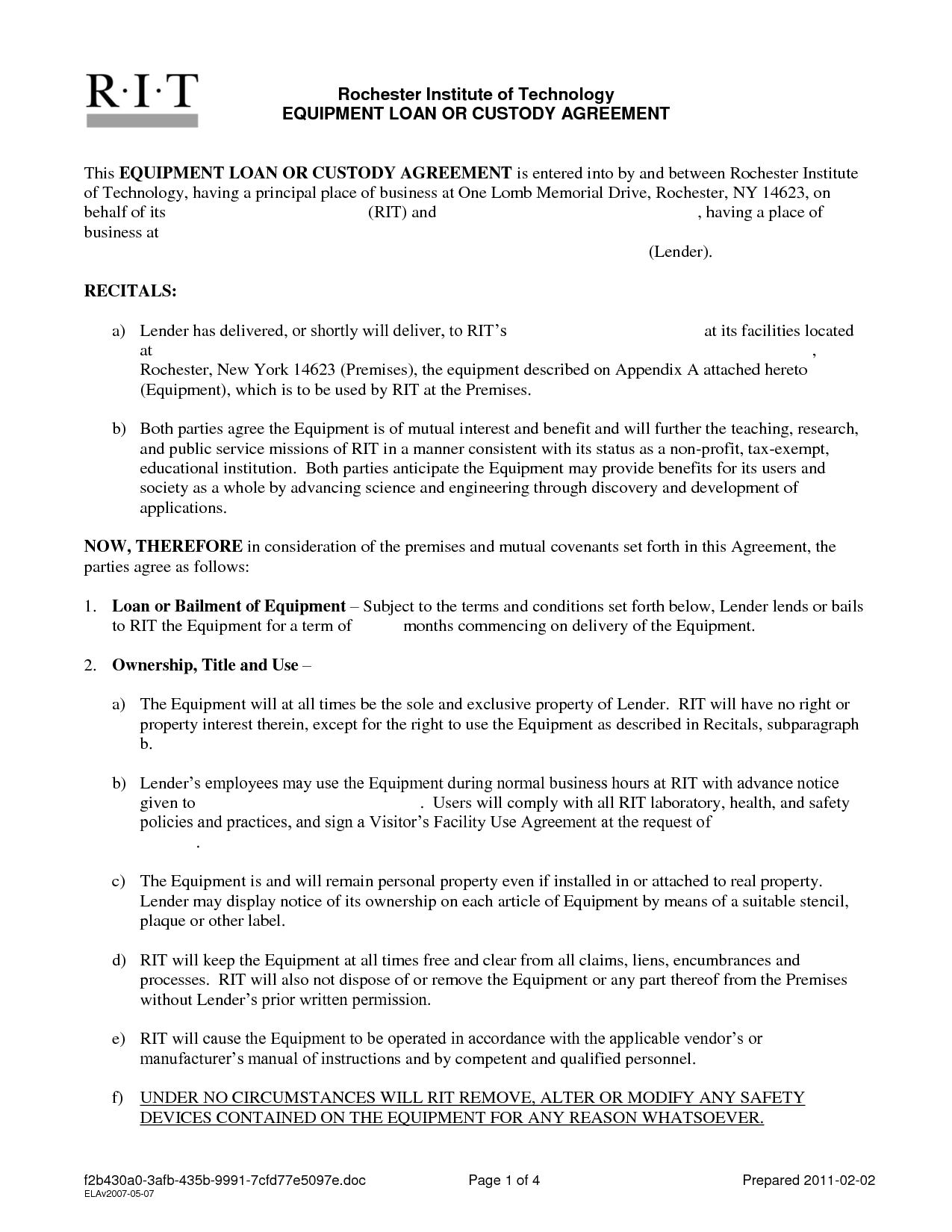 Private Mortgage Contract Template