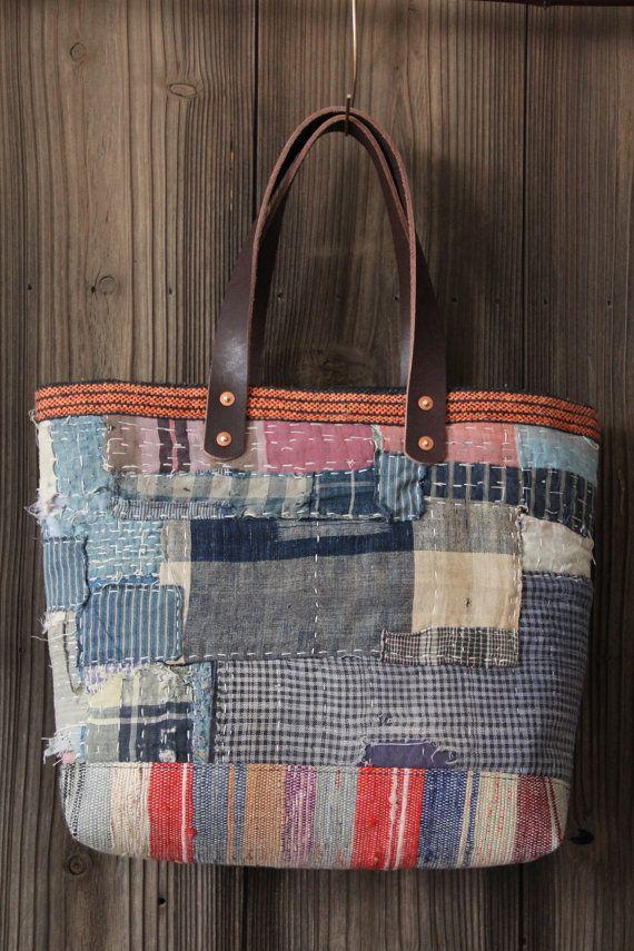 Japanese sashiko stitched indigo sakiori boro tote bag | Teppich ...