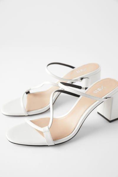 Heeled Mules With Asymmetrical Straps Heeled Mules Heels Zara