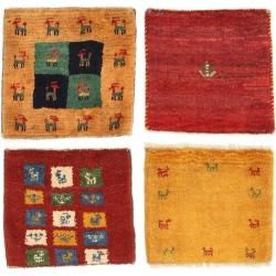 Gabbeh Persisch Paket aus 4 Teppich 40x40 Perserteppich, Quadratisch