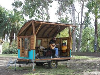 fun use of tiny housing gypsy wagon stage the backyard bandstands