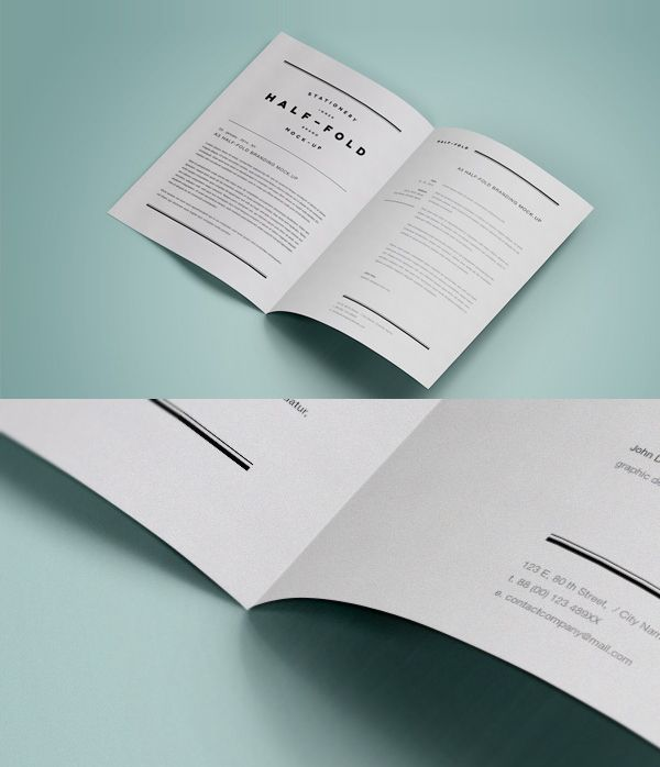 A3 Half Fold MockUp PSD Template Mockups Pinterest Mockup - psd album cover template