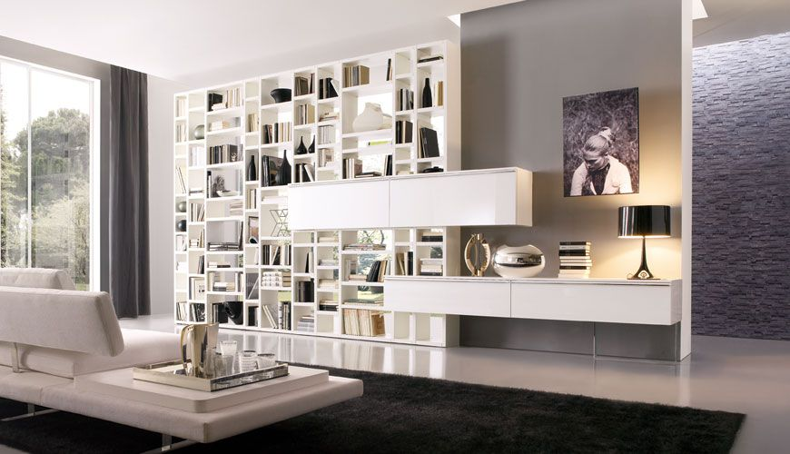 Room With Wall Of Books | 20 Modern Living Room Wall Units For Book Storage  From