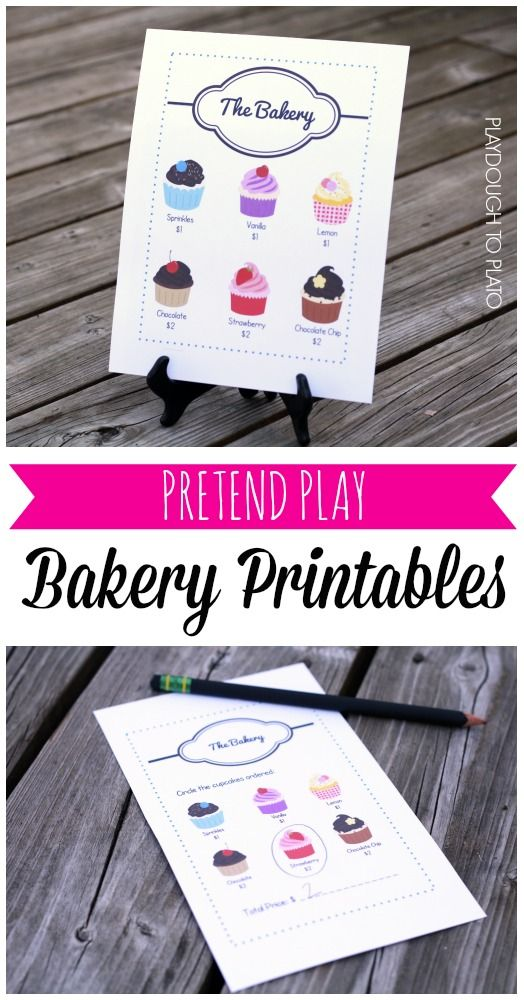 Fun pretend play bakery printables! Great way to spend an afternoon with the kids over the holiday break.