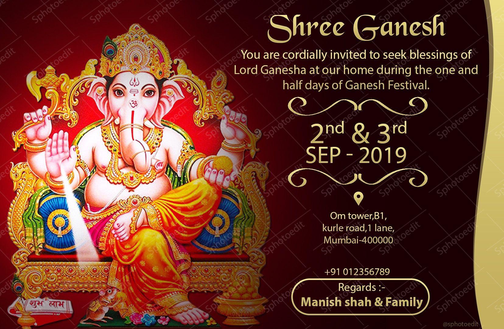 ganesh chaturthi invitation online 2019only rs149