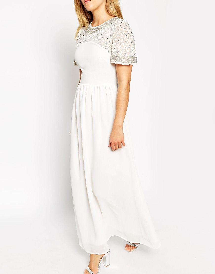 Image 3 ofASOS PETITE Premium Princess Cluster Maxi Dress