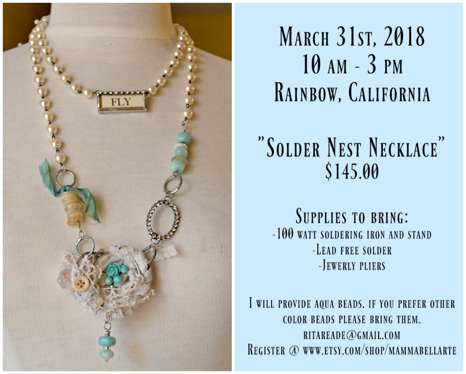 One space is now available Solder Nest Necklace March 31st