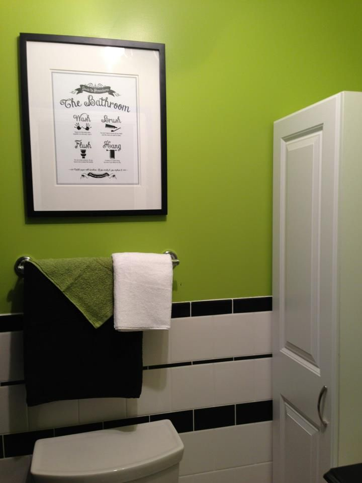 Black And White, With Lime Green Bathroom