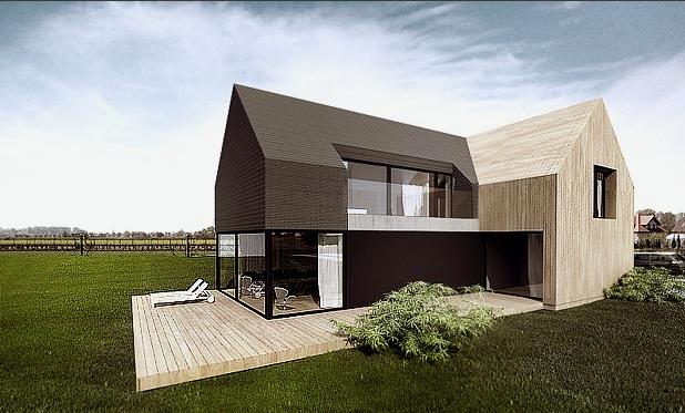 Moderner Holzbau Satteldach