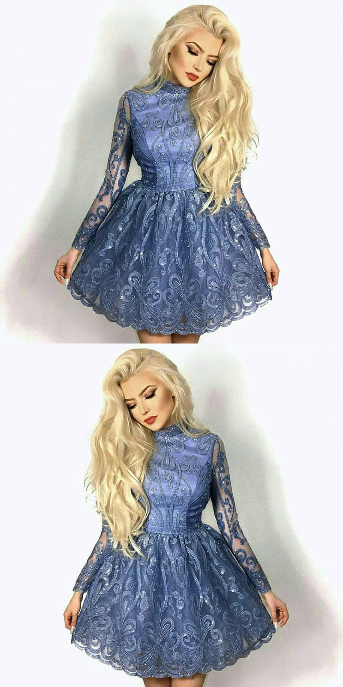 Aline jewel blue lace homecoming prom dress lace homecoming