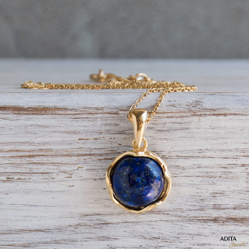 Lapis Lazuli Necklace Gold Plated Necklace And Lapis Lazuli Pendant 12mm Blue Gemstone Vintage Necklace For Woman Gift For Her Gold Fill Necklace Green Gemstones Jewelry Lapis Lazuli Pendant