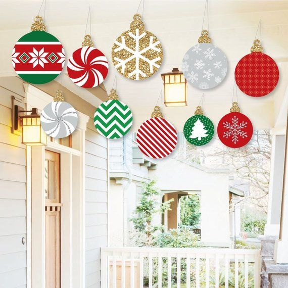 Hanging Ornaments Outdoor Christmas Decorations \u2022 Set of 10 Hanging